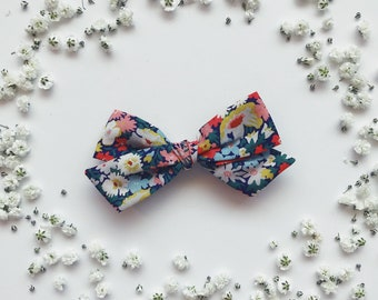 Thorpe Liberty of London floral bow kids baby toddler on nylon headband or hair clip flowers Navy blue red yellow green white