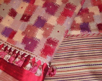 DRASTIC REDUCTIONS!!! - Red, Rust, Purple, Taupe & Peach Throw Blanket