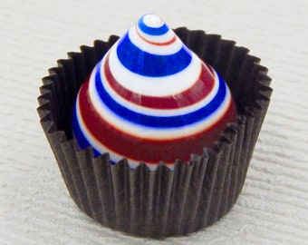 Collectible Patriotic Art Glass Chocolate by Hulet Glass, 4th July Fireworks, American Flag Colors, Memorial Day, July 4th Gift