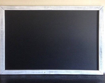 "Magnetic Chalkboard 24""x36"" Large Chalkboard, Magnetic Kitchen Chalkboard, Distressed Frame Chalkboard, Magnet Board, Large Menu Board"