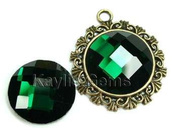 Mirror Glass Cabochon cab 20mm Round Checker Cut Faceted Dome -Emerald - 4pcs