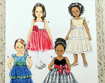 Butterick 5843, Childs' Dress Sewing Pattern, Party Dress Sewing Pattern, Children's Sizes 3, 4, 5, 6, Uncut