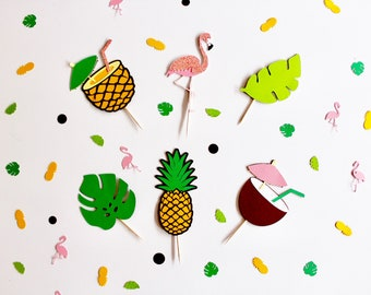 Flamingo Cupcake Toppers | Pineapple Cupcake Toppers | Palm Leaf Cupcake Toppers | Tropical Cupcake Toppers | Flamingle Party Decor
