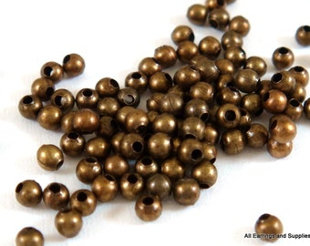 250 Spacer Beads 2mm Antique Bronze Plated Iron Metal Beads 1mm hole - 4.5 grams - M7046-AB250