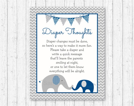 Elegant Cute Elephant Diaper Thoughts Game / Elephant Baby Shower /