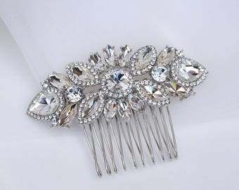 Bridal Hair Comb, Vintage Style Crystal Hair Comb,Silver  Wedding Hair Comb ,Art Deco headpiece, Bridal Headpiece, Rhinestone  Hair Comb