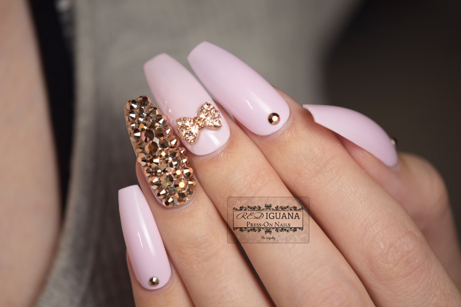 Gloss Pink Nails with Rose Gold Swarovski Crystals & Bow | Any Shape ...