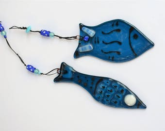 Fish Wall Decor Sun catcher  Israel Gift Handmade Fish Fusing Blue Glass Bathroom Decor Mediterranean Colors Free Shipping