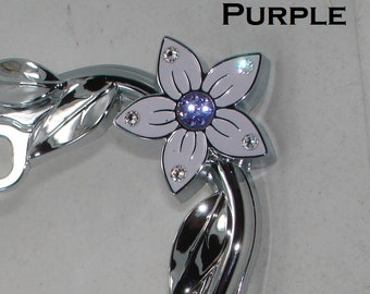 Flower Rose Daisy and Leaves Swarovski Crystals rhinestone Bling Car Chrome Metal License Plate Frame featuring 26 Diff Colors Available