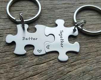Customizable Better Together Puzzle Piece Key chain Set - Hand Stamped Stainless Steel Couples set/ Best Friends