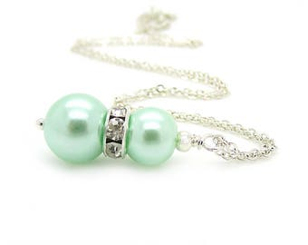Mint Pearl Necklace, Mint Bridesmaid Jewellery, Bridal Party Gifts, Pearl and Rhinestone, Pastel Green Wedding