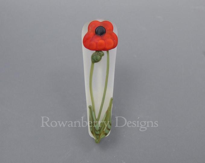 Featured listing image: Art Nouveau Poppy - Handmade Lampwork Glass Focal Bead - Rowanberry SRA - Pendant Upgrade available.
