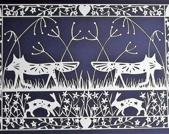 Two Foxes A4 Lasercut