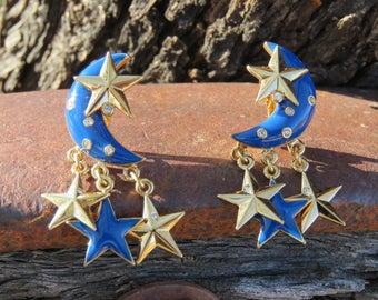 Crescent Moon and Star Clip Ons Earrings, Celestial Jewelry, Blue Moon, Gold Tone Stars, Enamel Navy bleu Earrings, Dangle and Drop Earrings