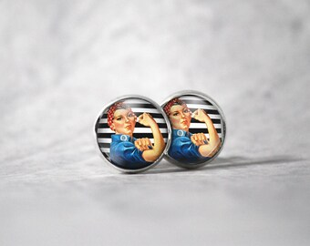 Earrings 12 mm cabochon / woman