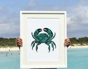 Turquoise green  crab A3 plus Wall decor poster -The big crab sea life print SAS009A3P