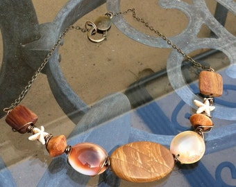 Shell and jasper beach necklace