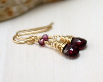 Garnet Earrings, 14k Gold Filled Rhodolite Garnet Earrings Oxblood January Birthstone Drop Dangle Earrings Wire Wrapped