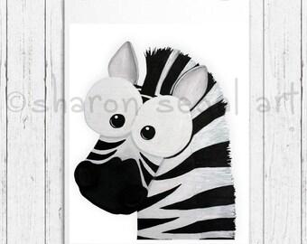 Zebra print.  Zoo animals. Whimsical zebra.  Kids decor.  Nursery decor. Cartoon zebra.