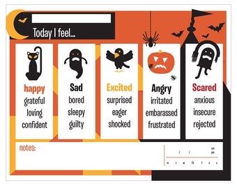 Printable Halloween Emotions Chart. How do you feel today?