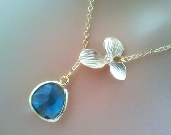 Sapphire necklace, Orchid Necklace, Wedding Necklace, Bridal Jewelry, bridesmaid gifts, Pendant Necklace, September Birthstone  , Gift