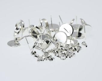 12mm Silver Tone Brass Earring Tray Settings, Earring Backs INCLUDED