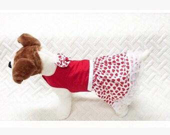 Dog Valentine Dress, Dog Party Dress, Red Dog Dress, Heart Dress, Custom Dog Dress