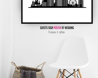 City skyline Wedding Guest book poster. Wedding Guestbook.  skyline Wedding Guestbook poster, Wedding Guest book, Guest book Poster, Wedding