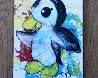Dancing penguin print on canvas