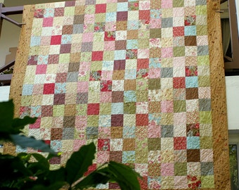 Double Bed Quilt, Twin Quilt, Patchwork Quilt, Cottage Chic, Floral Bed Blanket, Heirloom Quilt, Quiltsy Handmade