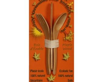Woods Utensils for kids; 7'' (18cm), maple wood