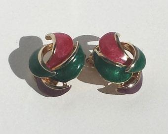 Swirling Teal & Magenta Vintage Enamel Clip On  Earrings presented by Donellensvintage