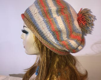 Knitted artist slouchy batik hat blue beige orange beret with pompom - ready to ship free shipping