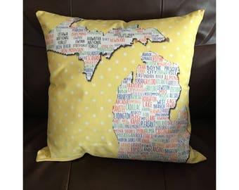 Michigan Cities Pillow in Yellow