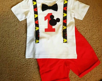 Birthday onsie / first birthday suit  / mickey mouse / baby onsie / baby shirt / handmade