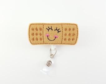 Bandaid - Felt Badge Reel - Nurse Badge Holder - RN Badge Reel - Pediatric Badge Clip - Name ID Badge Holder - Retractable Badge - Doctor