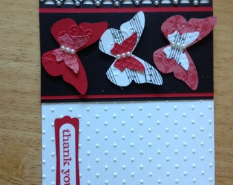 Stampin Up handmade thank you, all occasion card - red butterflies
