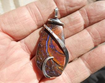 BEAUTIFUL Australian Yowah Nut Opal Silver Wrapped Pendent