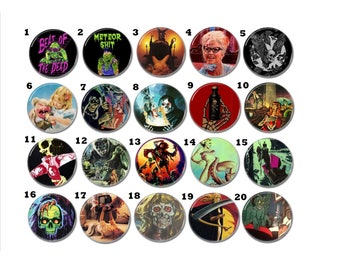 Vintage, Retro Horror buttons set 20! (badges, pins, 25mm, slasher, cthulhu, ghost, splatter, werewolves, demons)
