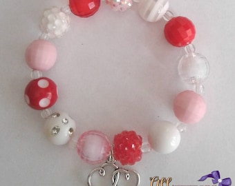 Red, Pink and White Valentines Not So Chunky Bracelet