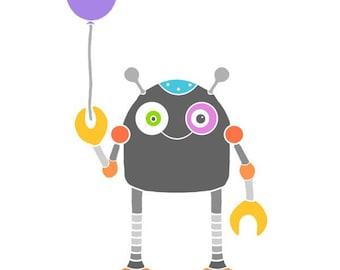 Cute robot print purple balloon art kids room decor wall art robot illustration robot drawing sci fi art baby nursery wall art kids room