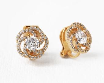 Clip On Studs Gold Bridal Studs Bridal Jewelry Gold Crystal Studs Bridal Studs Wedding Studs Wedding Earrings Bridal Earrings E339-G-CLIP