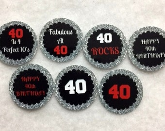 Set Of 50/100/150/200 Personalized 40th Birthday Party Red 1 Inch Circle Confetti