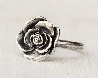Sterling Romantic Rose Ring, Handmade Statement Ring,  Boho Jewelry, Bohemian Ring, Flower Ring, Promise Ring, Mothers Day GIft