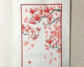 Chinese Painting, Magnolia blossom, Ink Painting, Original artwork.