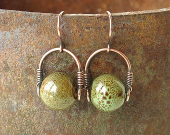 Earthy green earrings - Copper wire wrapped mossy olive & brown ceramic bead