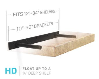 "Floating Shelf Bracket for 12"" to 34"" Long Floating Shelf - HEAVY DUTY - Hardware Only (US Patent 9,861,198 )"