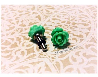 Small Rose plugs for gauged ears: 14g, 12g, 10g, 8g, 6g