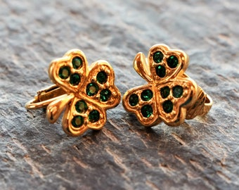 Vintage Avon Clip Earrings, 1994 Lucky Shamrock Clover Earrings, Gold-tone Green Rhinestone Clip-on Earrings for St. Patrick's Day