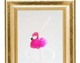 16 Pink Flamingo Straw/  Luau Paty Straws/  Hawaian Party Straws/ Honeycomb Sraws